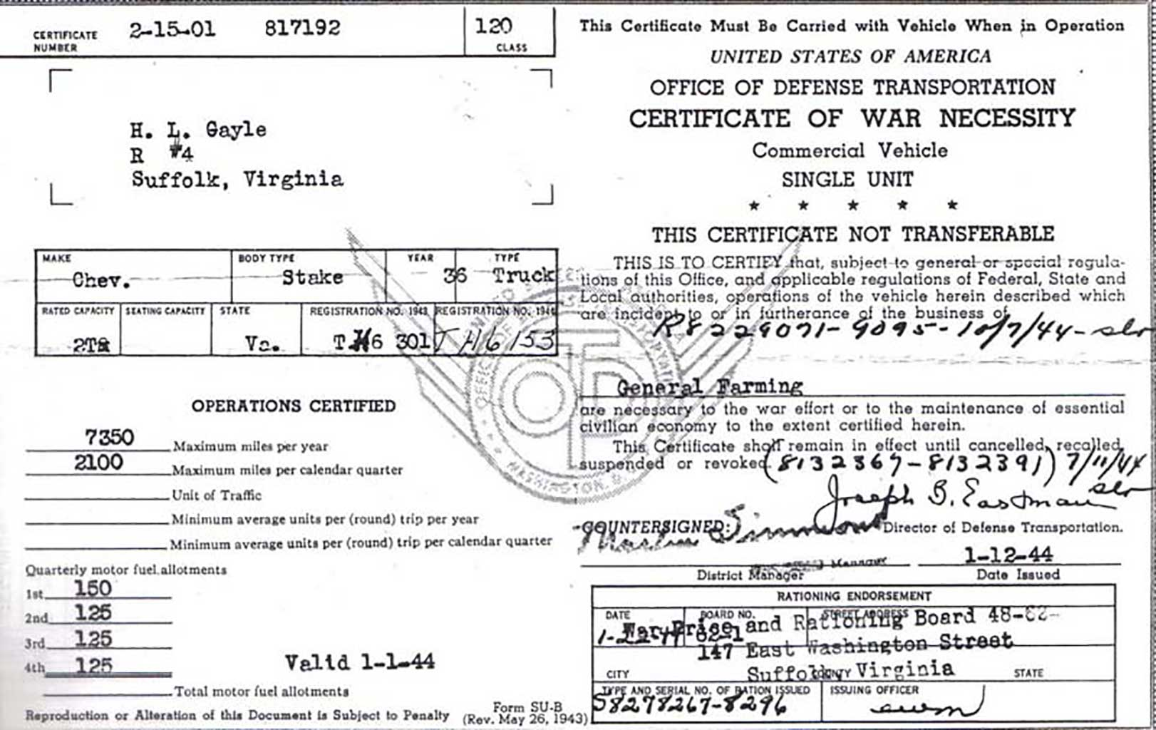 certificate-of-war-necessity-for-commercial-vehicle-h-l-gayle-dec-1942-vernon-gayle-document