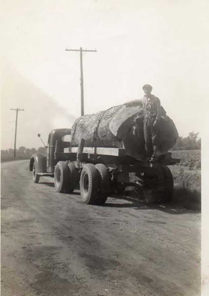 jeff-gibson-on-klc-with-white-oak-log-from-ferry-point-farm-circa-1940-img326